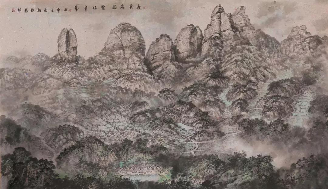 《龙川霍山全景》 骆振艺  中国画  2014年